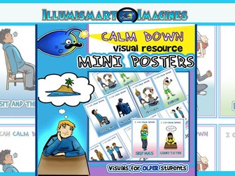 Calm Down Mini Posters-Visuals for OLDER Students!