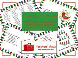 twelve days of christmas lyrics posters - Twelve Days Of Christmas Lyrics