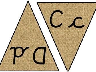 Reggio Inspired Natural Cursive Handwriting Alphabet Bunting
