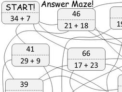 Adding 2 Digit Integers - Answer Maze