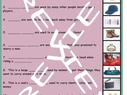 Clothing, Accessories, Footware and Jewelry 3 Photo Worksheet Set