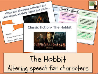 English- The Hobbit- writing speech for characters