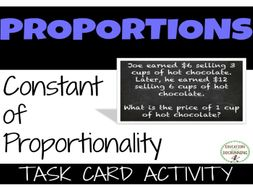 Constant Proportionality Word Problems Task Card Activity