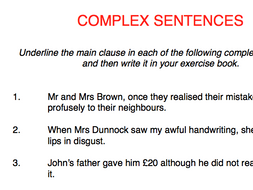 Complex sentences (3 types) - presentation and worksheet