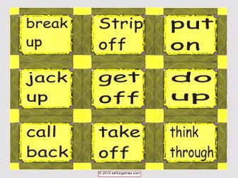 Phrasal Verb Cards 2 4 Pages = 36 Cards