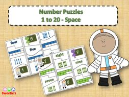 Number Puzzles 1 to 20 - Space Theme
