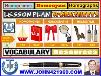 HOMOPHONES HOMOGRAPHS HOMONYMS : LESSON RESOURCES AND EXERCISES