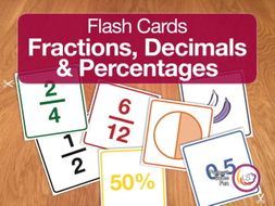 Fraction, Decimals and Percentages Flash Cards