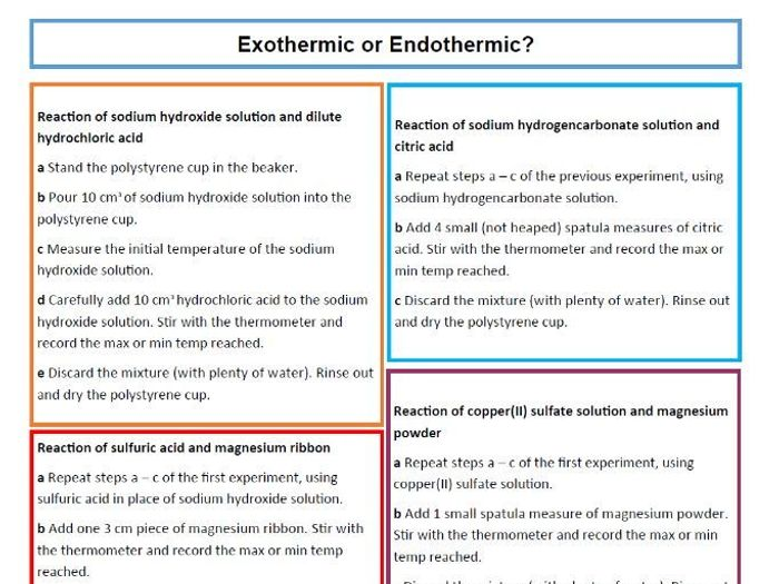 Exothermic Endothermic Worksheet - Samsungblueearth