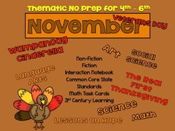 Not Your Usual November Print and Go Lessons (Common Core by the Month)