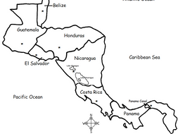 Central America - Countries and Capitals - Printable Handout