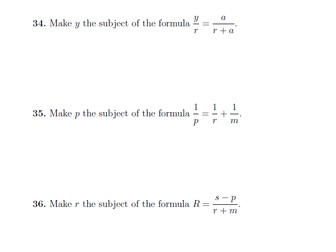 Rearranging formulae/Changing the subject of a formula worksheets with detailed solutions