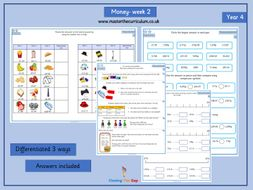 Year 4- Money- week 2- differentiated worksheets White Rose Style