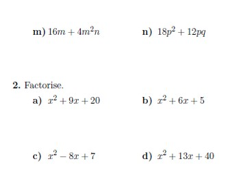 Factorisation worksheet (with solutions)