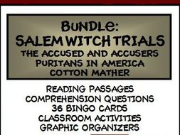 BUNDLE: SALEM WITCH TRIALS - Lesson, Reading Comprehension, and Bingo