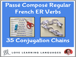 Passé Composé French ER Verbs - Primary French conjugation chains - Cut and paste