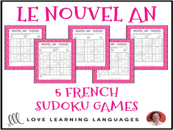 French New Year Vocabulary - Nouvel An - Sudoku Puzzles