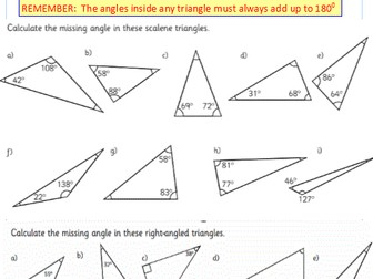 Angles reasoning:  angles in a triangle