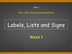 Year 1: Labels, Lists and Signs (Week 1 of 2)