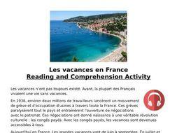 French Holidays (Les Vacances) Listening MP3 & Transcript