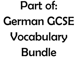 Part of GCSE German Vocabulary Bundle