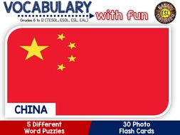 China - Country Symbols: 5 Different Word puzzles and 30 Photo flash cards (ESL, ELA, ELL, TESOL)