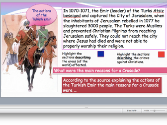 Why was the First Crusade called in 1095?