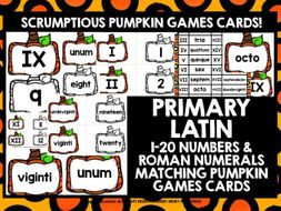 PRIMARY LATIN NUMBERS ROMAN NUMERALS 1-20 PUMPKIN GAMES CARDS