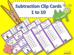 Subtraction Facts Clip Cards for 1 to 10 - BUGS