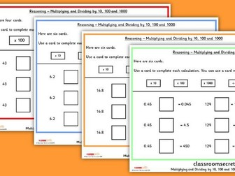 KS2 Multiplying and Dividing by 10, 100 and 1000 Reasoning SATs Questions