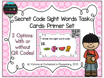 Secret Code Sight Words Task Cards: Primer Set