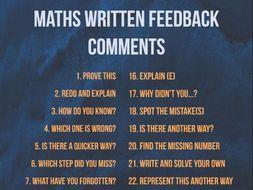 30 Maths Written Feedback Marking Comment Question Stems