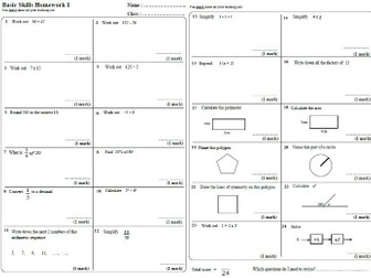 40 x KS3 Maths Homework Sheets / Booklet WITH ANSWERS!!!!