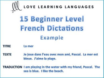 15 Beginner Level French Dictées