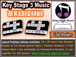 Music Worksheets Code Breaker Puzzles