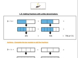 bar modelling  adding fractions with unlike denominators by  bar modelling  adding fractions with unlike denominators by  mathsteryeducation  teaching resources  tes