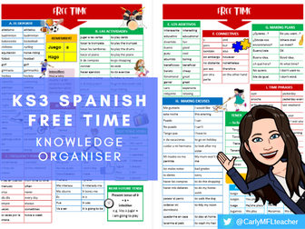 KS3 Spanish Free Time Topic Knowledge Organiser
