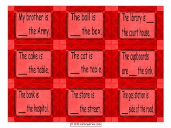 Prepositions of Place,  Location & Direction Cards 4 Pages = 36 Cards