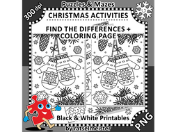 christmas activities santas mittens find the differences and colouring page