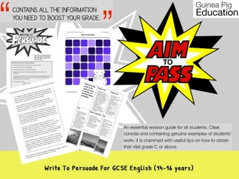 Write To Persuade (GCSE English Writing Work Pack) (14-16 years)