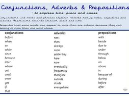 Conjunctions, Adverbs & Prepositions Year 3, 4, 5, & 6