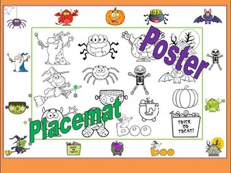 Halloween Placemat or Poster to Colour