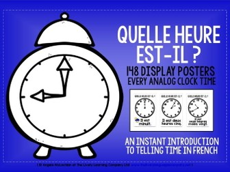 FRENCH TIME DISPLAY POSTERS / FLASH CARDS - EVERY ANALOG CLOCK TIME IN FRENCH!