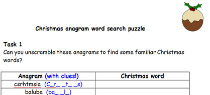 Christmas Anagram And Word Search Puzzle By Goldtopfox