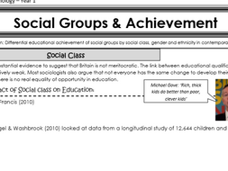 AQA Sociology - Year 1 - Education - Social groups and achievement