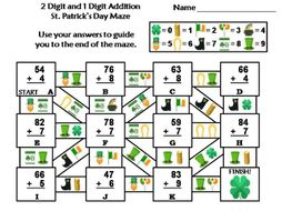 Two Digit and One Digit Addition Game: St. Patrick's Day Math Maze