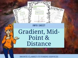 Gradient, Mid Point and Distance Info Sheet for Stage 5 Maths