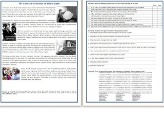 The Universal Declaration Of Human Rights - Reading Comprehension Worksheet / Informational Text
