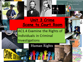 Criminology (New Spec)Unit 3 Crime Scene to Court Room AC1.4 Rights in Criminal Investigations