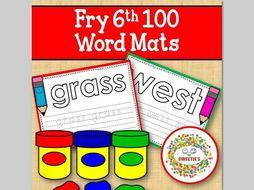 Sight Word Mats:  Fry 6th 100 Word Mats – Color